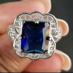 Jewelry - Vintage S925 Sterling Silver Blue Sapphire Ring